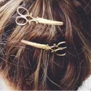 Gold Scissors Bobby Pin Set NWOT